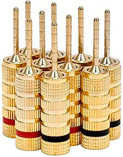 Monoprice 10 Gold Plated Speaker Pin Plugs - 10 Pairs - Pin Screw Type,  for Speaker Wire, Home Theater, Wall Plates and More
