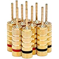 Monoprice 109438 Gold Plated Speaker Pin Plugs - 5 Pairs - Pin Screw Type, for Speaker Wire, Home Theater, Wall Plates…