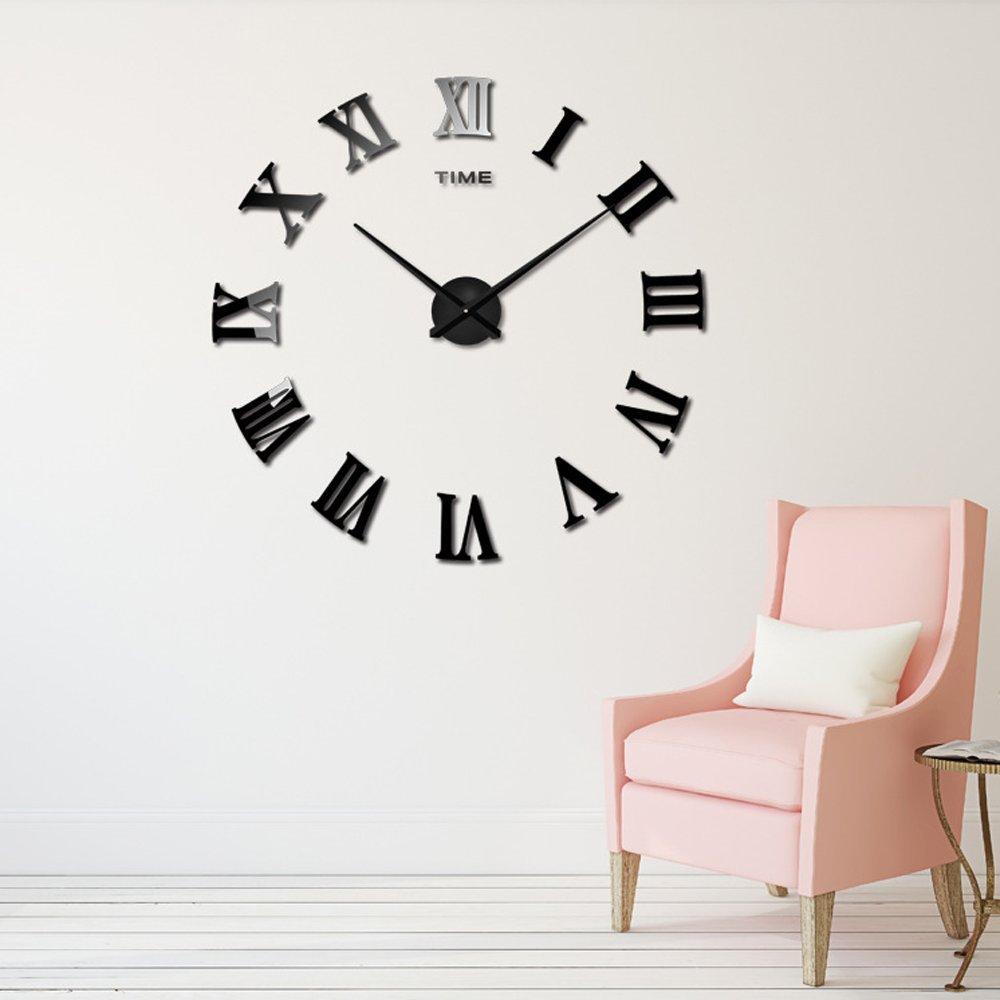 amazon com cideros large wall clock 3d acrylic mirror sticker amazon com cideros large wall clock 3d acrylic mirror sticker roman numerals diy big watch with 80 120cm diameter modern creative design