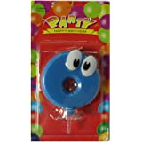 PEPUP Happy Birthday Party Decorations Supplies, Candles,Party Decoration Pack (Happy Birthday Giggly Eye candle) Giggly Eye Birthday Number Candle 0 (Blue), for a fun filled kids birthday party decoration, Party Supplies with unique birthday candle