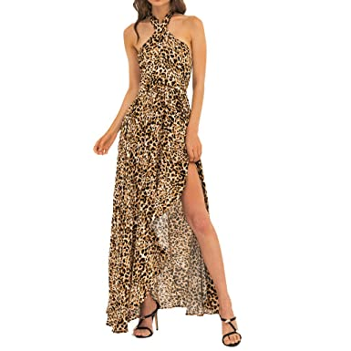 cea2c6bfe94e Long Dress for Women Cold Shoulder Halter Leopard Print Backless Ruffle  Asymmetric Hem Sexy Dresses at Amazon Women's Clothing store: