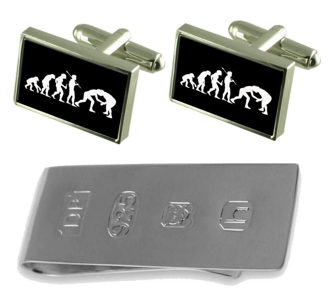 Evolution Ape to Man Wrestling Cufflinks & James Bond Money Clip by Select Gifts