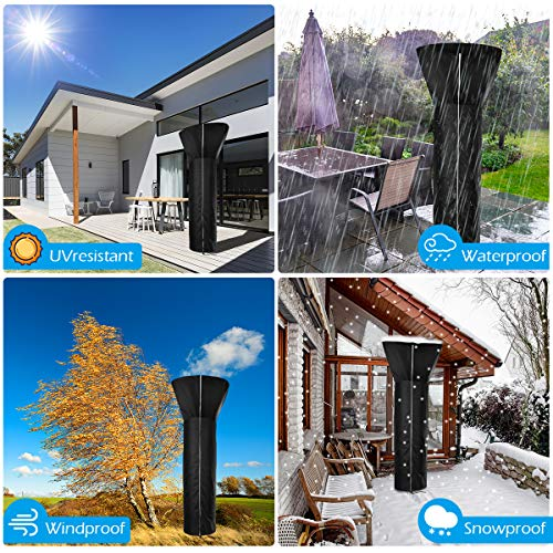 AOZRYNL Patio Heater Covers Waterproof with Zipper, Standup Outdoor Round Heater Covers Oxford Fabric Windproof Snowproof Protection Cover Compatible with Propane Heater (87\