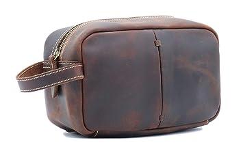 cb555c178856 Amazon.com : KAIROU Genuine Leather Toiletry Bag Vintage Crazy Horse ...