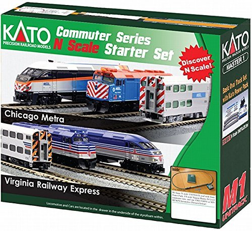 Starter Dcc - Kato USA Model Train Products N F40PH and Gallery Bi-Level Commuter Series Chicago Metra UNITRACK Starter Set
