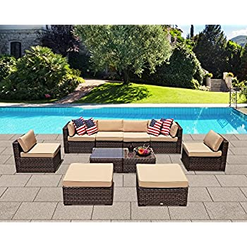 Patiorama Patio Sectional Sofa Set, 10 Piece Outdoor Sectional Sofa Set with Ottoman, Coffee Glass Table,Brown PE Wicker Sectional Furniture Beige ...