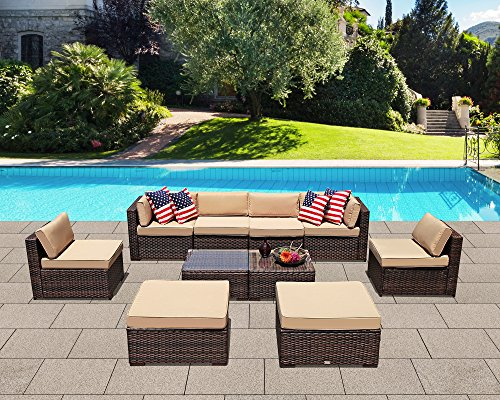 Patiorama Patio Sectional Sofa Set, 10 Piece Outdoor Sectional Sofa Set with Ottoman, Coffee Glass Table,Brown PE Wicker Sectional Furniture Beige Cushions