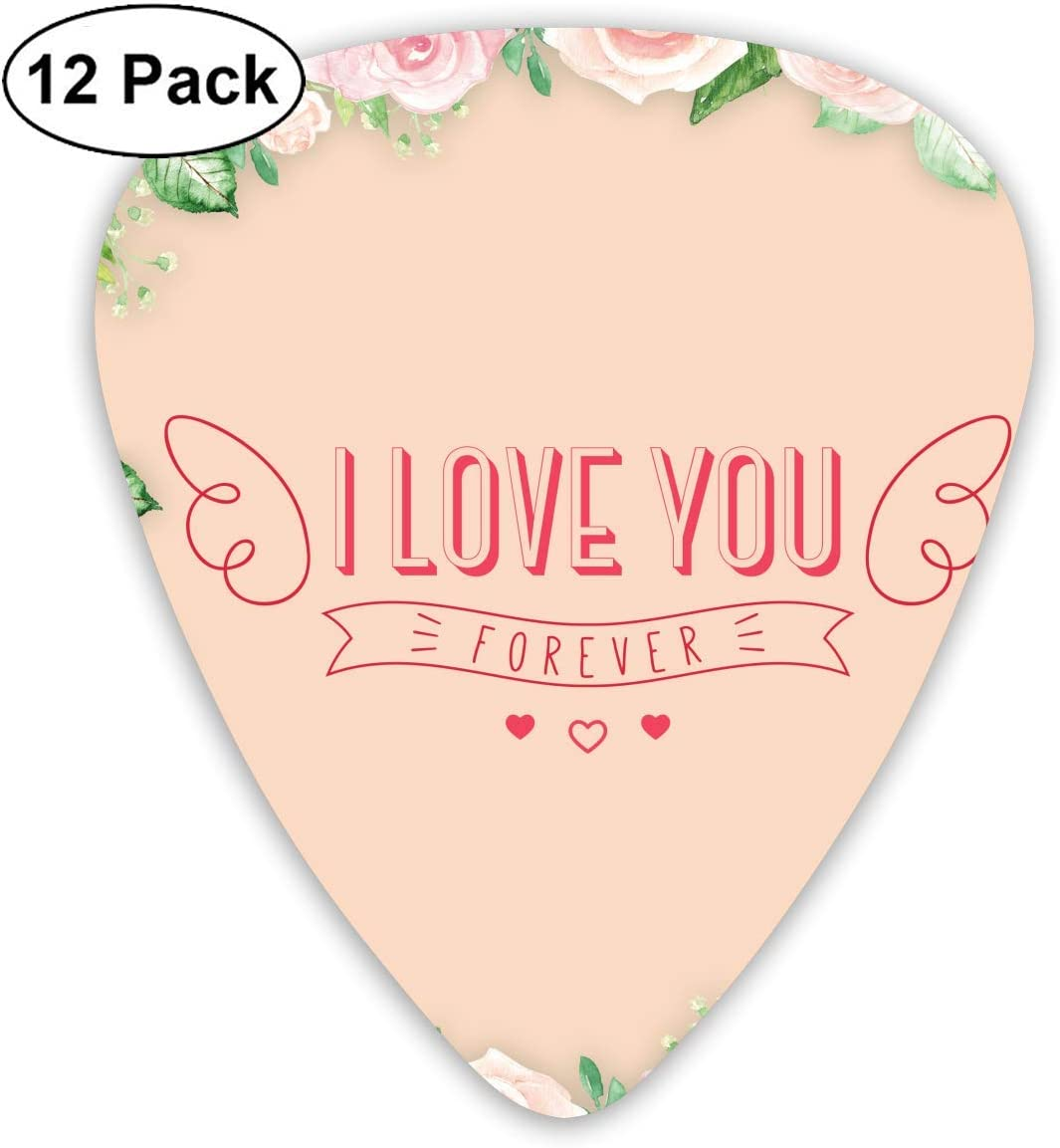 12 Pack Guitar Picks I Love You Forever-rose. Think, Medium And Heavy,Unique Guitar Gift For Bass, Electric & Acoustic Guitars: Amazon.es: Instrumentos musicales