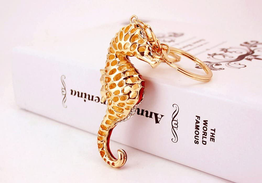 Colorful Jzcky Shzrp Exquisite Sea Horse Crystal Rhinestone Keychain Key Chain Sparkling Key Ring Charm Purse Pendant Handbag Bag Decoration Holiday Gift