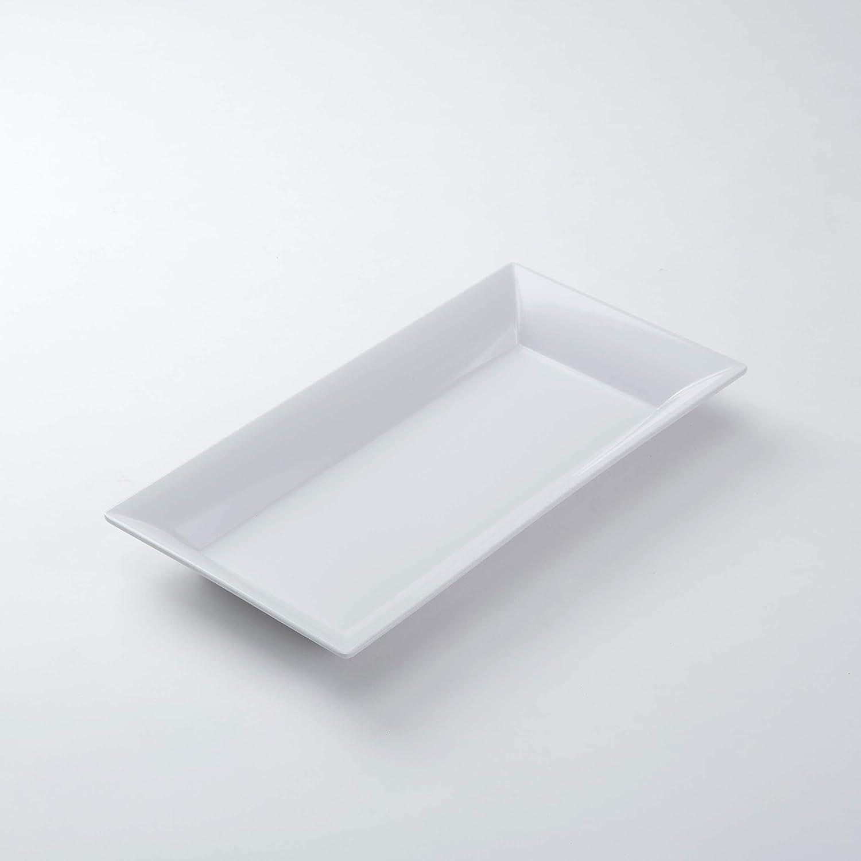 "American Metalcraft MEL23 Endurance Melamine Rectangular Platter, 18"" x 8.25"", White"