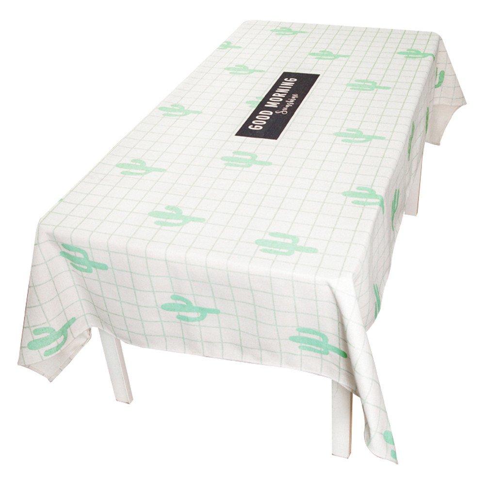 WERLM Réseau Simple et Moderne Les Tapis de Table Rouge Coeur Tissus Coton Lin Petit Cabinet Fresh TV Table Basse Blanc Tissu Cactus,140 * 220cm
