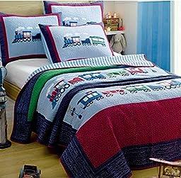 Norson Children\'s Cartoon Bedding / Boy Bedroom Bedding / Train Bedding / Patchwork Quilt / 2 Pc Twin Size Quilt & Shams Set 70 *86in