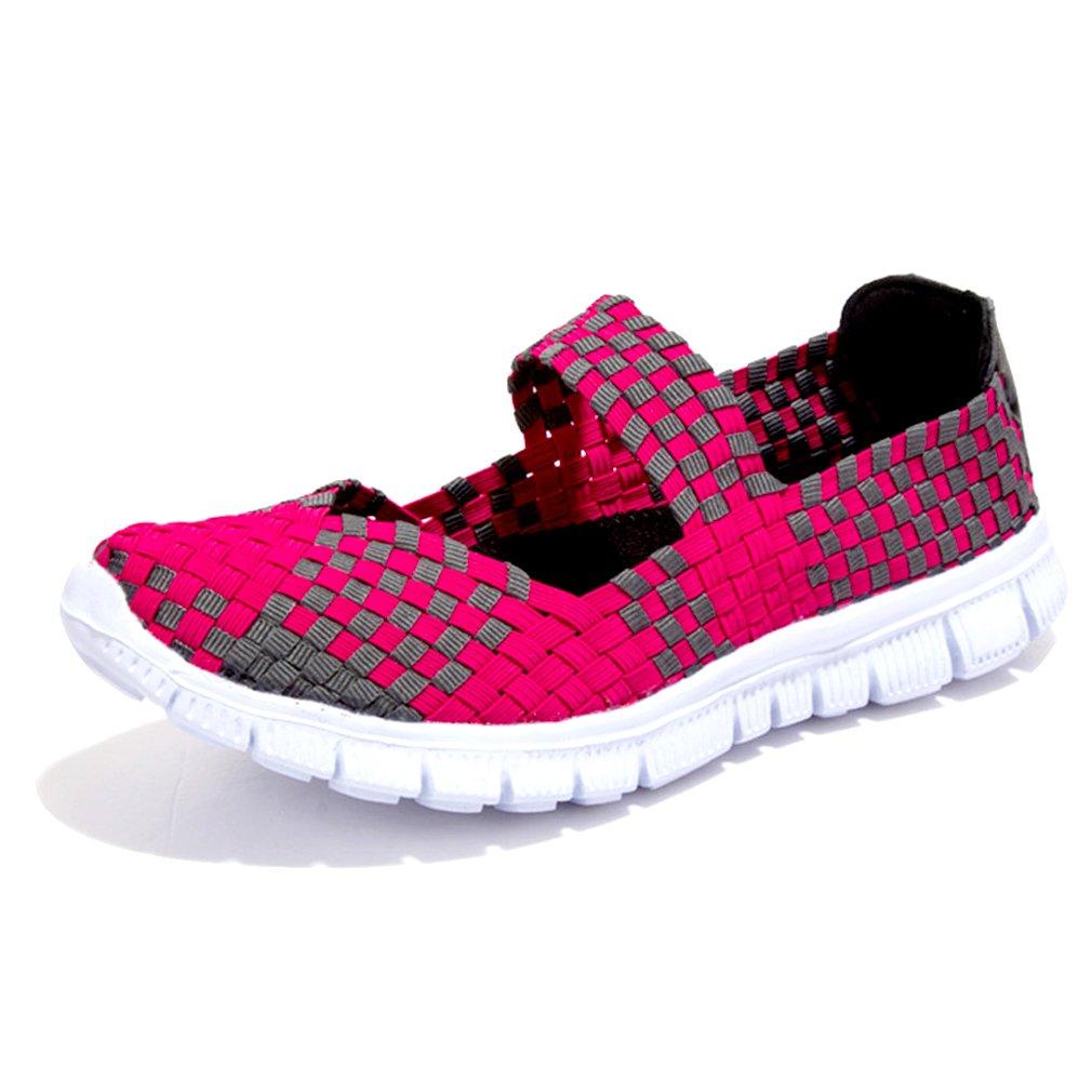Blivener Damen Geflochtene Leichte Elastische Gemütlich Slip-on Schuhe Loafers Turnschuhe Draussen Wanderschuhe Sport Wasser Schuhe