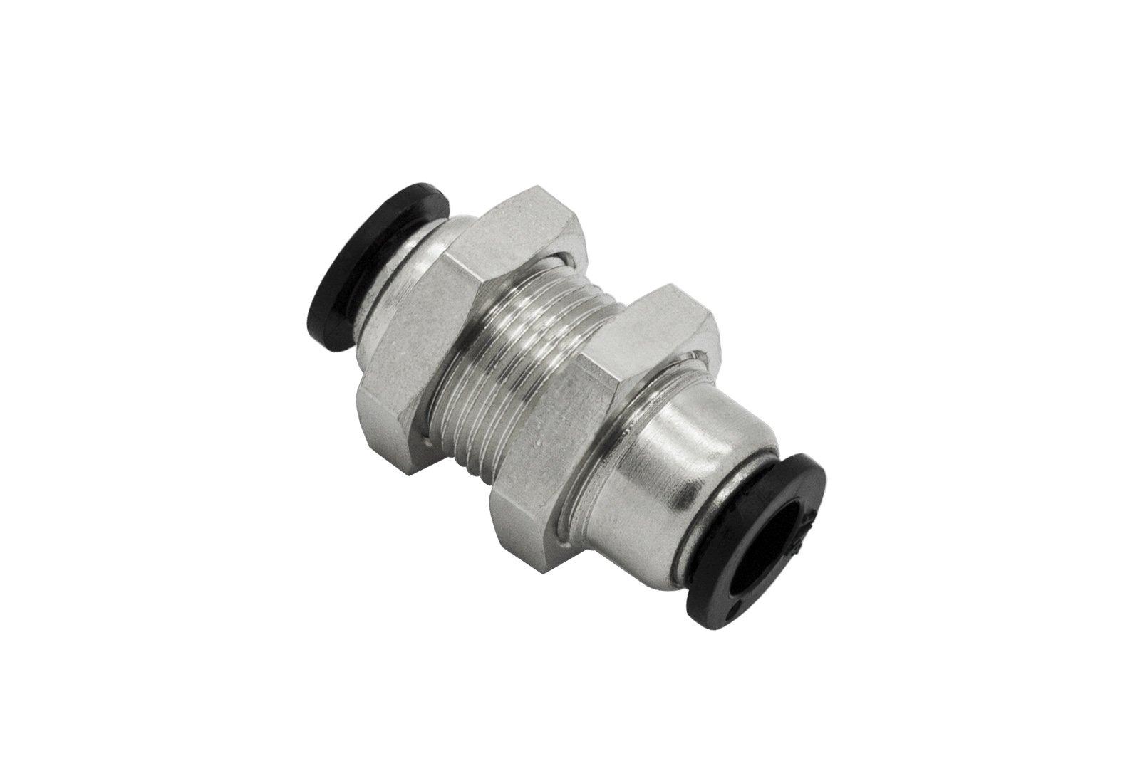 PneumaticPlus PMM-1/4 Push to Connect Tube Fitting, Bulkhead Union - 1/4'' Tube OD x 1/4'' Tube OD (10 per pack)