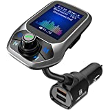 """Bluetooth FM Transmitter for Car, HEYMIX Upgraded 1.8"""" Color Screen Wireless Car Radio Adapter with QC3.0 & 5V/2.4A…"""