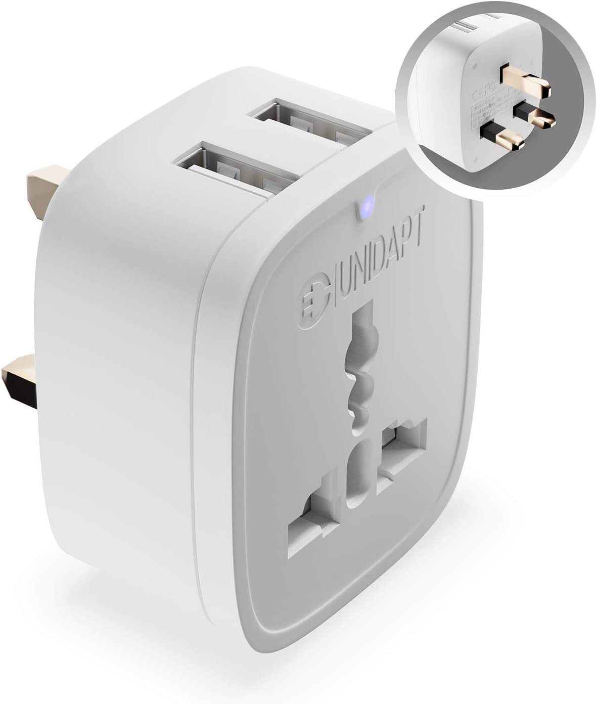 Unidapt UK Ireland Adapter Plug, USA Us to UK Plug adapter, EU to UK Power Plug Adapter, Travel Outlet Adapter Charger for USA/Europe to England Dubai Scotland Irish London Hong Kong British (Type G)