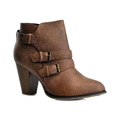 Women's Fashion Chunky Block Heel Booties Buckle Strap Zipper Ankle Boots CA64 | Ankle & Bootie