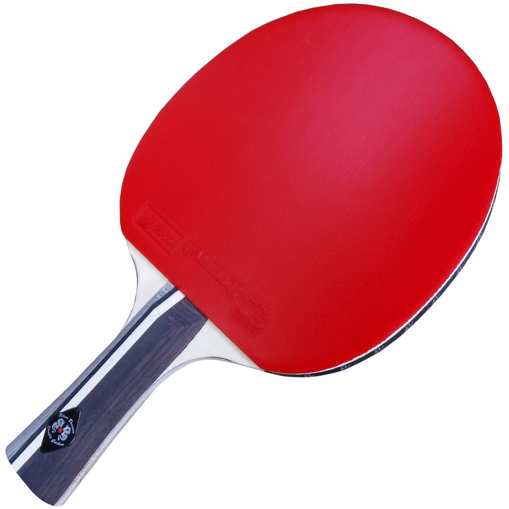 Gambler Custom Professional Table Tennis Paddle with Double Carbon Blade and Sevens Rubber plus Blue Case