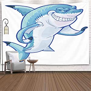Asdecmoly Tapestry Wall Hanging Wall Hanging Decor for Living Room Dorm Tapestry 80 Lx60 W Inches Cartoon Clip Art Tough Mean Smiling Shark Mascot Its Fin Caustic Art Printing Inhouse Art Tapestry