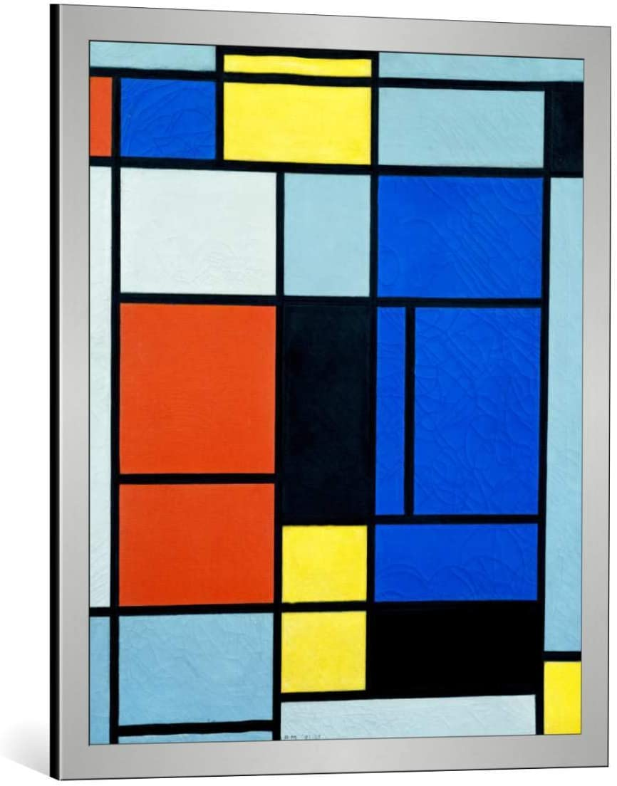 Amazon Com Kunst Fur Alle Framed Art Print Piet Mondrian Tableau No 1 Decorative Fine Art Poster Picture With Frame 25 6x29 5 Inch 65x75 Cm Silver Brushed Posters Prints