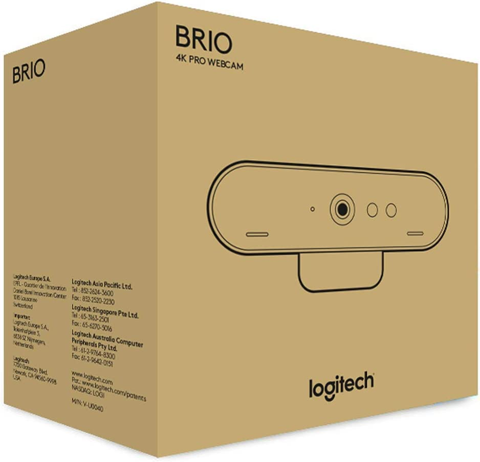 Logitech Brio Ultra Pro Webcam 1080p 60fps Hyper-Fast Streaming Wide Adjustable Field View Zoom Works with Skype WebEx Cisco Jabber Zoom Windows Hello Mac Laptop Chrome Black
