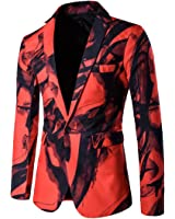 XQS Mens Fashion Print Slim Fit One Button Blazer Jacket Coat
