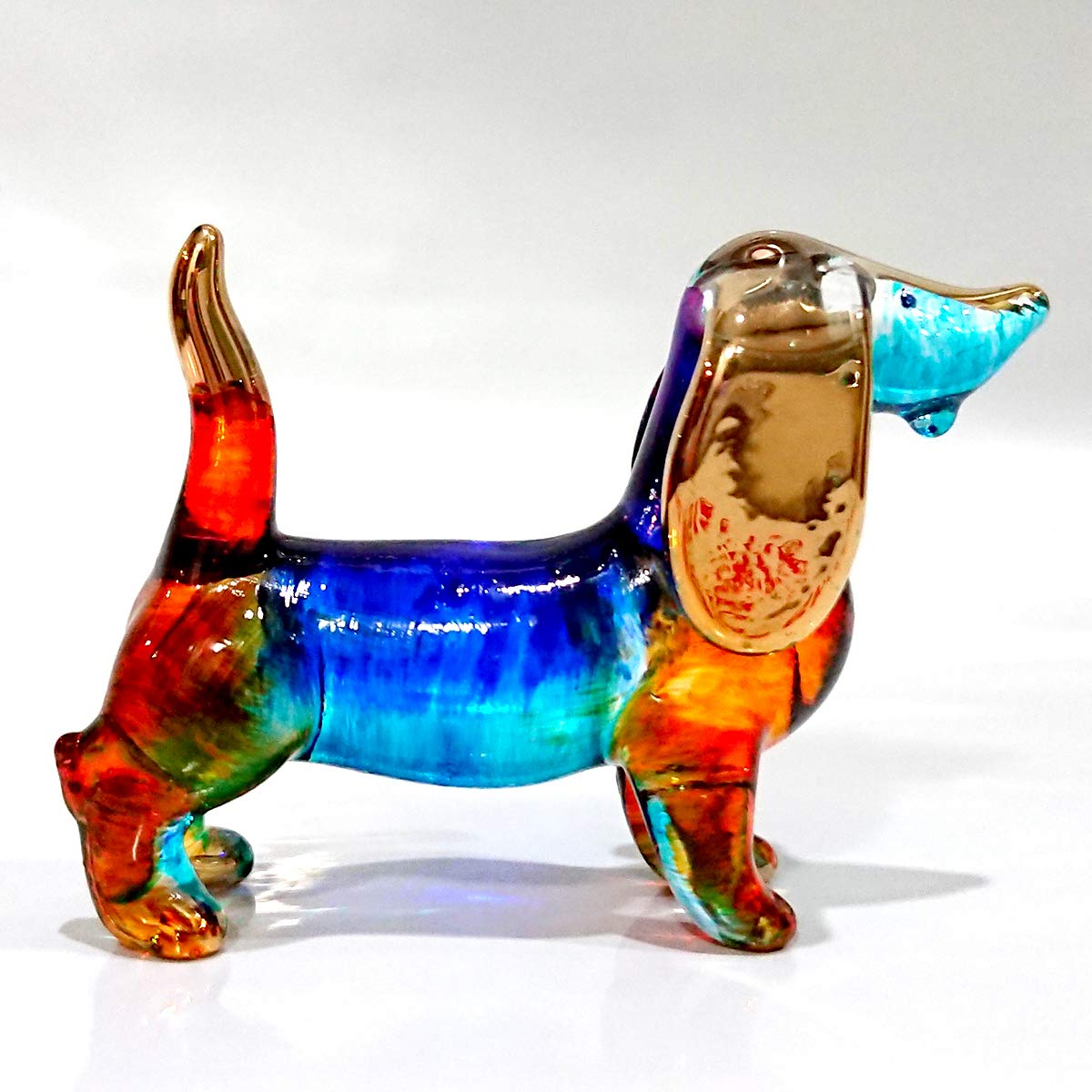 Sansukjai Dachshund Miniature Figurines Dog Animals Hand Painted Blown Glass Art Gold Trim Collectible Gift Decorate, Blue Orange