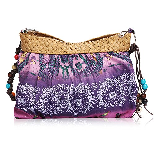 Women Bohemian Boho Ethnic Folk Print Beach Purse Crossbody Cloth Bag (A)