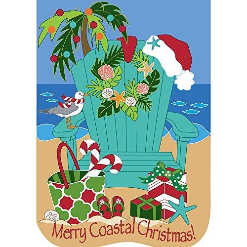 Merry Coastal Christmas Beach Chair 30 x 44 Round Pennant Large House Flag