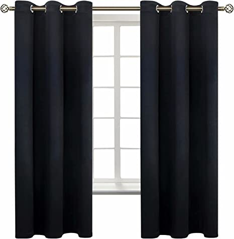 Blackout Curtains for Bedroom Thermal Insulated Room DarkeningCurtains Dark Grey