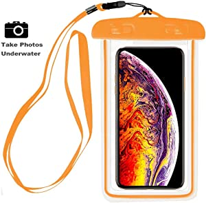 """Universal Waterproof Case, CaseHQ Cellphone Dry Bag Pouch for iPhone X, 8/7/7 Plus/6S/6/6S Plus,Samsung Galaxy S9/S9 Plus/S8/S8 Plus/Note 8 6 5 4, Google Pixel 2 HTC LG Sony Moto up to 6.0"""" - Orange"""
