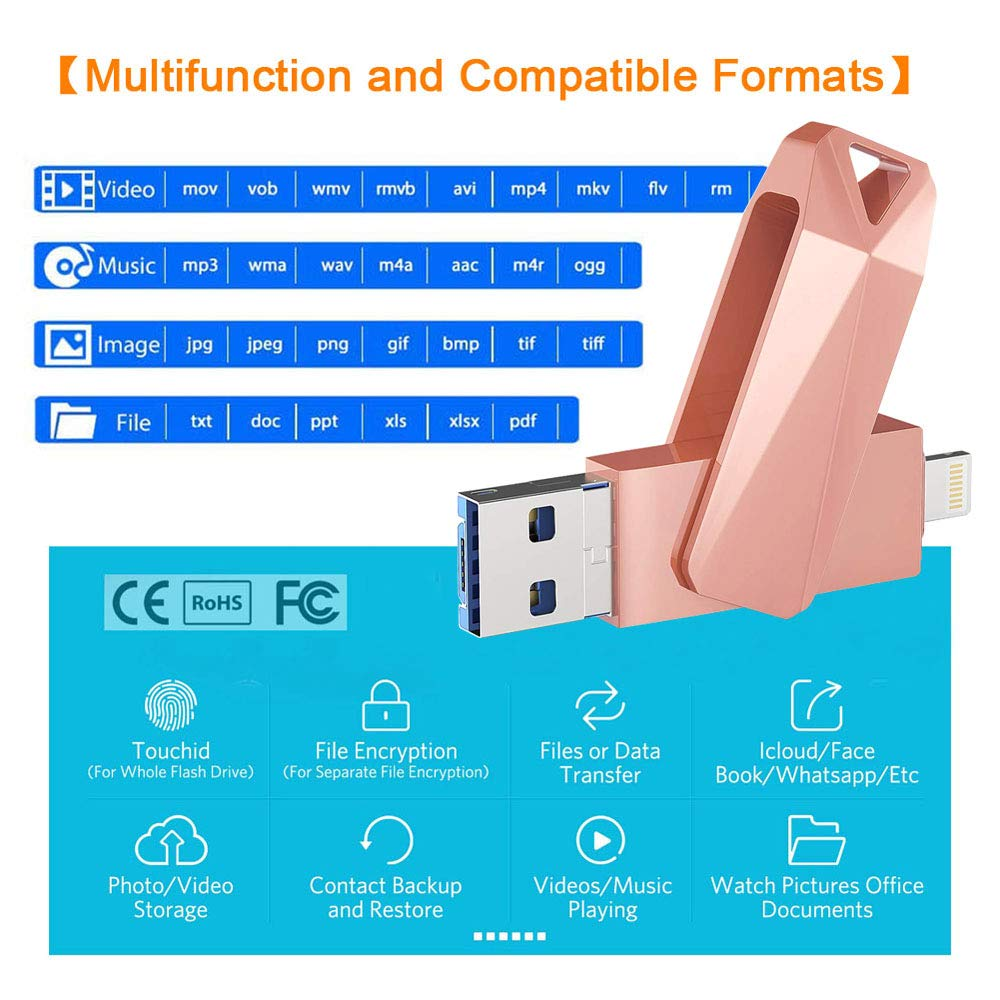 USB Flash Drives for iPhone 128GB 4 in 1 iOS Memory Stick OTG Jump Drive Thumb Drives External Micro USB Memory Storage Drive for iOS, Android, PC (Pink)