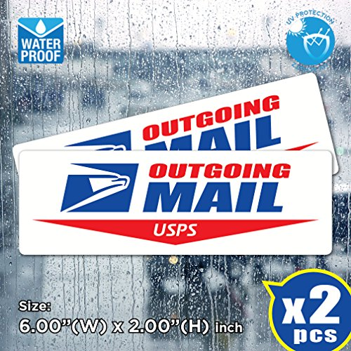 AllWeather (Pack of 2) USPS Outgoing Mail Sign Post Office Logo Decal Sticker US Postal Vinyl Label