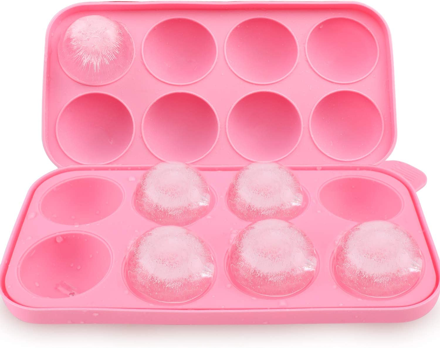 LINEBA Round Ice Balls Maker Tray 8 Sphere Molds Cube Whiskey Cocktails(PINK)