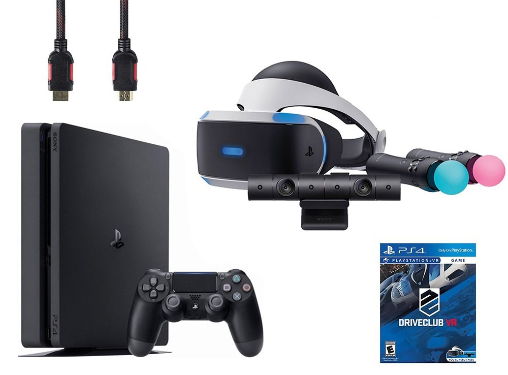 PlayStation VR Start Bundle 5 Items:VR Headset,Move Controller,PlayStation Camera Motion Sensor,Sony PS4 Slim 1TB Console - Jet Black and VR Game Disc PSVR DriveClub ncharted 4