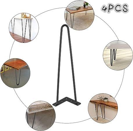 20cm 20//30//40//71cm Lot 4 Pieds de Table en /Épingle /à Cheveux Style Moderne en Fer Noir