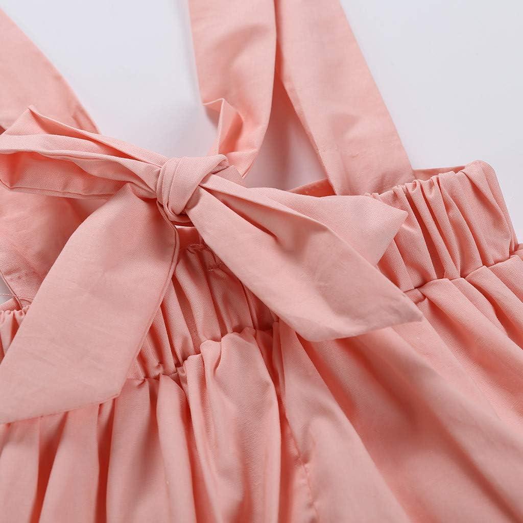3PCS Waymine Infant Girl Floral Romper Tops+Suspender Pants+Hair Band Set 0-18M