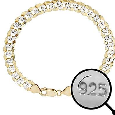 4e9cf1e7ea695 Harlembling Men's Cuban Link Bracelet 14k Gold Over Solid 925 Sterling  Silver Bracelet - 8.5