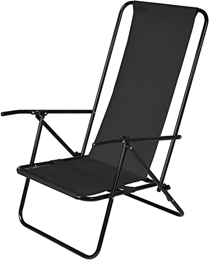 Clas Ohlson Deck Chair Foldable Reclinable Low Seat Garden Deck Chair Beach Chair With Steel Frame Black Amazon Co Uk Garden Outdoors