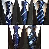 CROWNEW 领带 可洗 商务用 结婚典礼 礼物 条纹 小花纹 3/4/5/6支套装