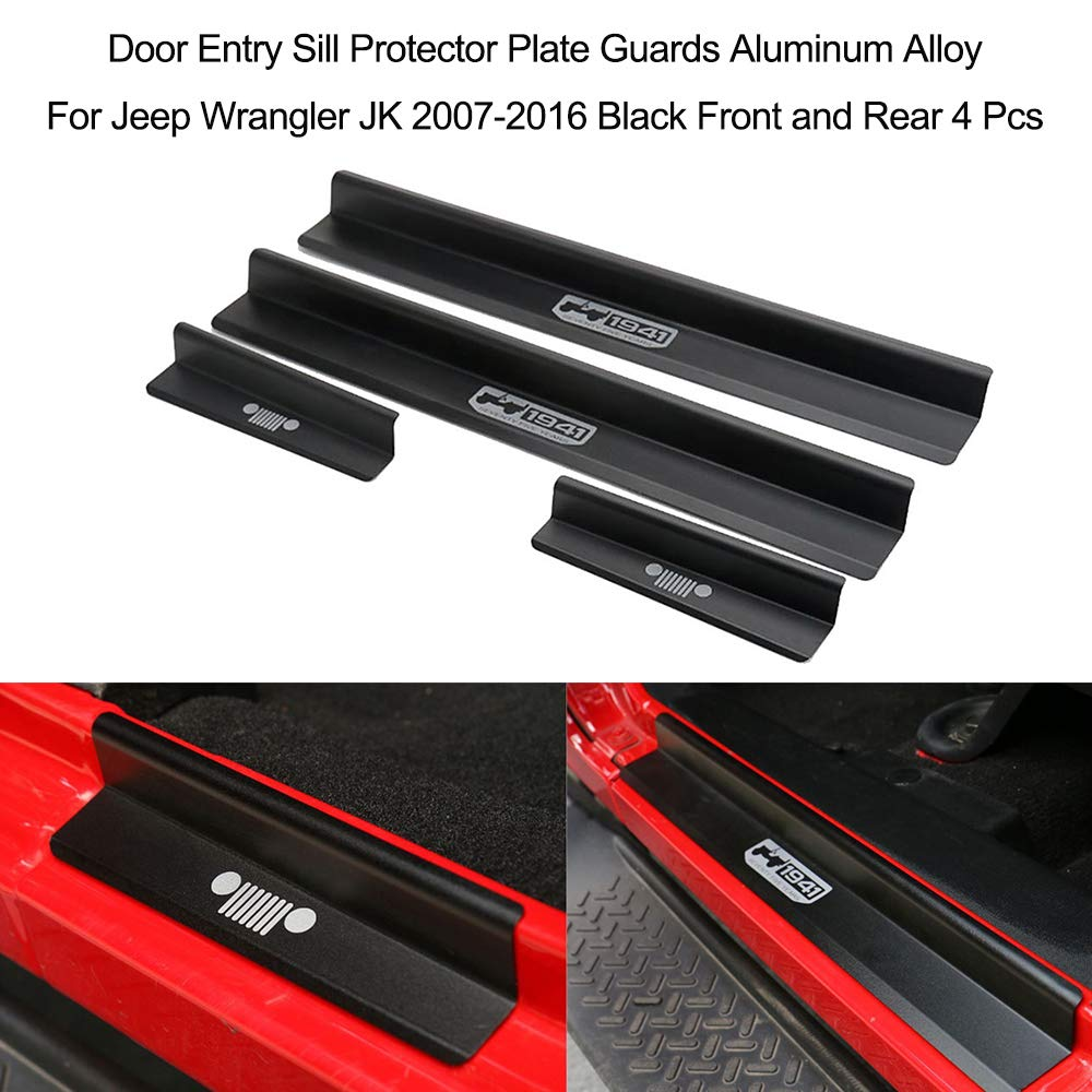 Black FMtoppeak One Set of 4 Pcs Aluminum Alloy Front /& Rear Door Sill Protector Cover Scuff Plate Entry Guards for 2007-2016 Jeep Wrangler JK 4 Door