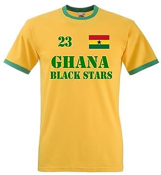 huge selection of de2a3 965f1 Ghana Black Stars Men's T-Shirt Retro Jersey No. 23 yellow ...