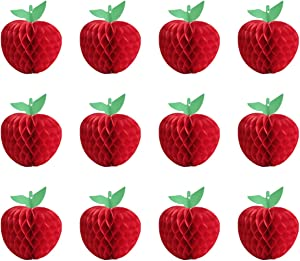 Hapy Shop 12 Pieces Honeycomb Tissue Paper Fruit Red Honeycomb Hanging Fruit Decoration for Baby Shower Party,School Garden Room Party Decorations, Red (4 Inch)