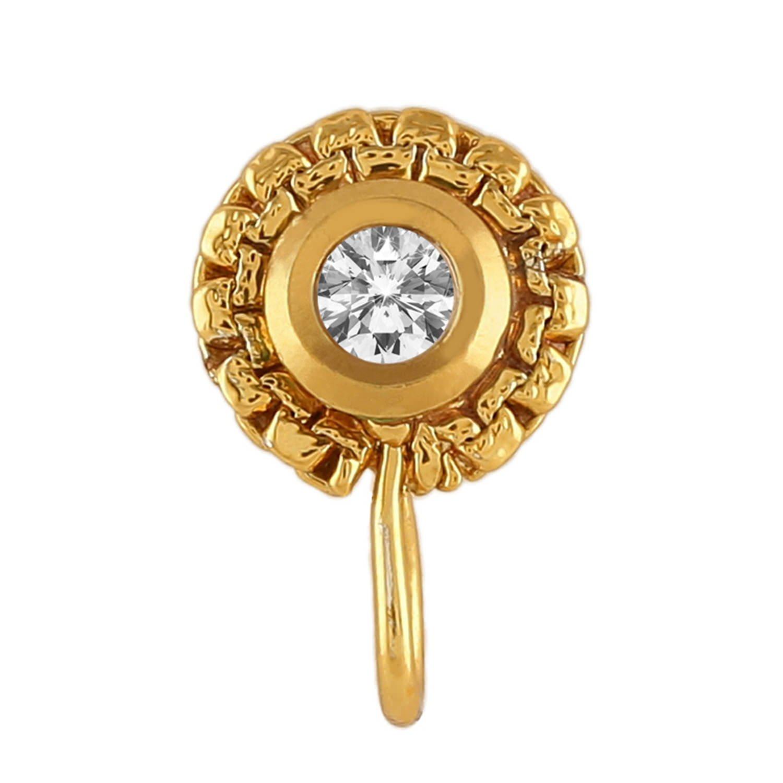 Buy Accessher Gold Plated Traditional Circle Kundan Nose Pin