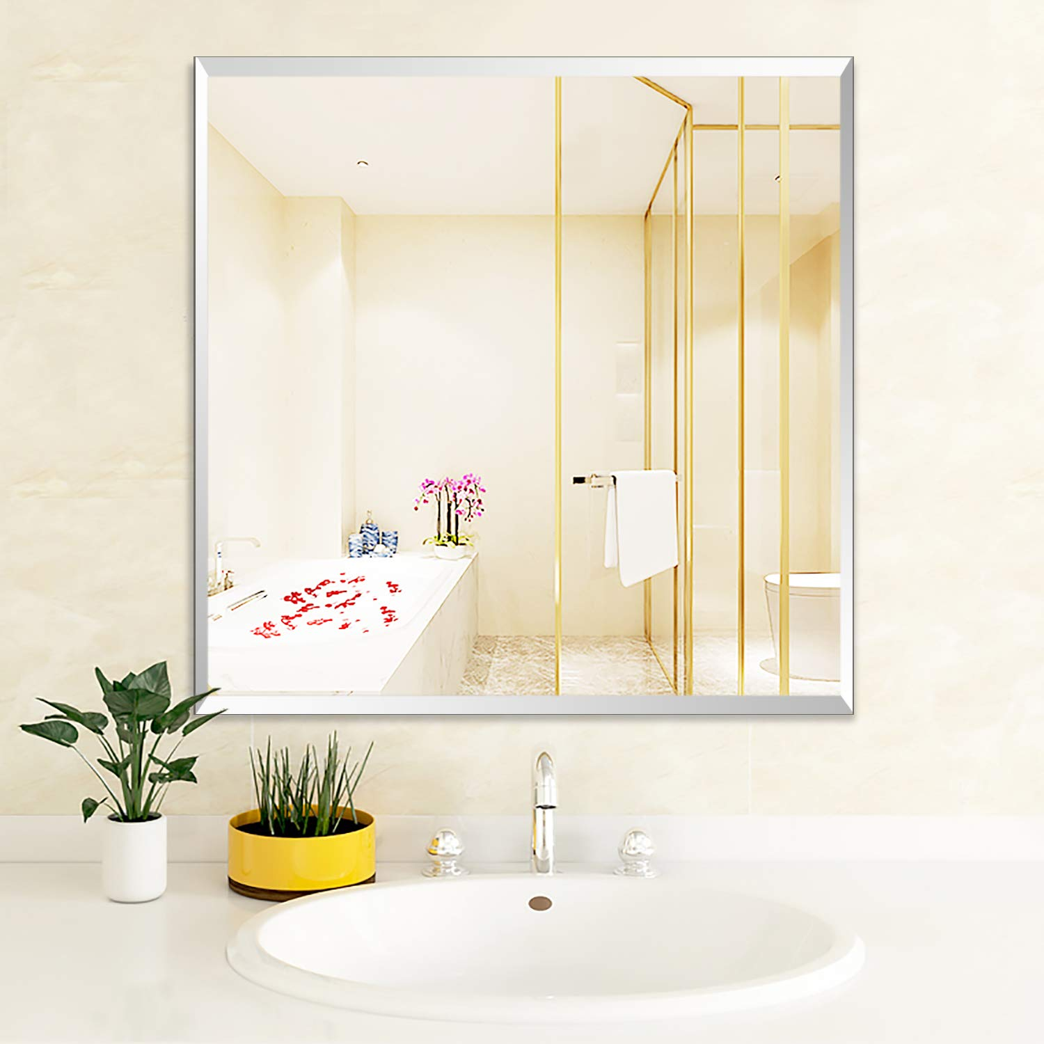 PexFix Large Frameless Square Wall Mirror with Polished Edge | Bathroom, Vanity, Bedroom Rectangular Mirror Wall-Mounted Mirrors | 24-inch x 24-inch (24'' W x 24'' H)