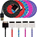 UNISAME [Pack of 5Pcs] Premium 3Ft 1Meter Rugged Nylon Braided 30 Pin USB Charging & Sync Data Cable Charger Cord for iPhone 4 4S 3GS 3G, iPad 2, iPad 3, iPod Touch 1/2/3/4