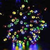 lederTEK Energia Solare Impermeabile Leggiadramente Luci Stringa di 22m 200 LED 8 Modi di Natale Lampada Decorativa per All'aperto, Giardino, casa, Matrimonio, Albero di Natale Capodanno Party (200 LED Multi Colore)