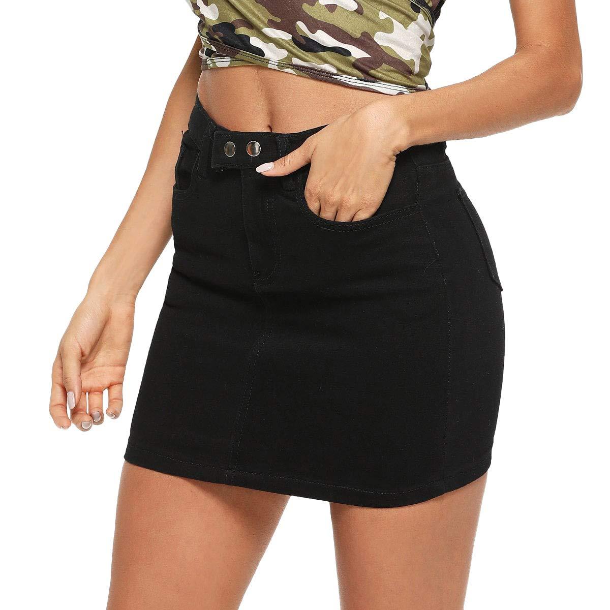 Black SheIn Women's Solid Casual Denim ALine Short Bodycon Skirt