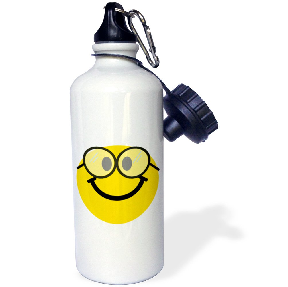21 oz 3dRose wb/_113100/_1Geeky smiley face Cute geek Happy nerd yellow smilie with glasses Smiling studious cartoon smile Sports Water Bottle White