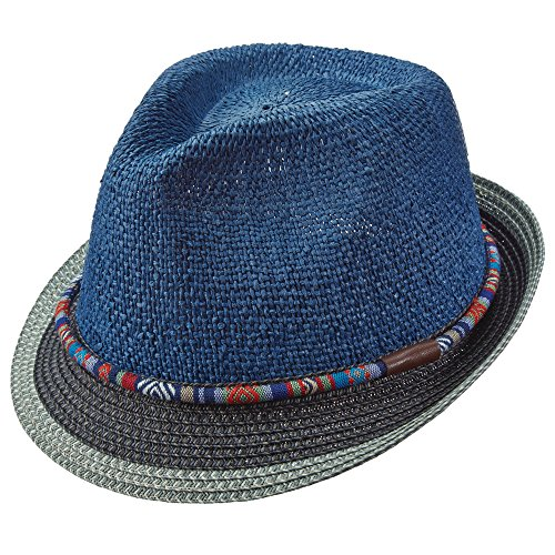 Santana Carlos by Carlos, Navajo Band Toyo Straw Pinch Front Tribal Fedora (SAN342) (Medium, Blue) Pinch Front Straw